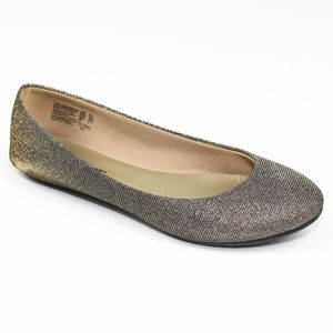 Lower East Side Shimmer Fabric Flats Gold